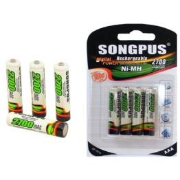 Επαναφορτιζόμενη μπαταρία AAA SONGPUS Νi-MH 1,2V - 2700mAh - 4 τεμάχια