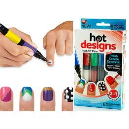 """Πινέλα Νυχιών Με 6 Καταπληκτικά Χρώματα - Nail Art Pens """"Hot Designs"""""""