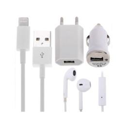 Σετ για iPhone 5 που περιλαμβάνει ακουστικά, καλώδιο usb, φορτιστής ταξιδιού, φορτιστής σπιτιού