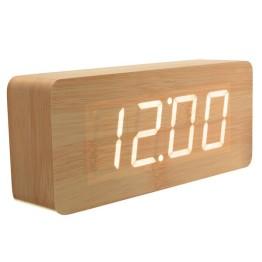 Ξύλινο Vintage Ρολόι Ημερολόγιο, Ξυπνητήρι, Θερμόμετρο με Αισθητήρα Ήχου και Δόνησης