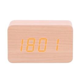 Ξύλινο Επιτοίχιο Ρολόι Ημερολόγιο, Ξυπνητήρι, Θερμόμετρο με Αισθητήρα Ήχου