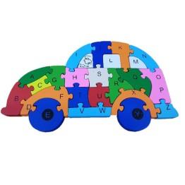 Ξύλινο Παζλ Αυτοκινητάκι Rainbow 26 Τεμαχίων