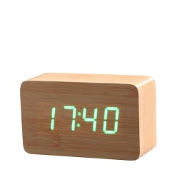 Ξύλινο Επιτραπέζιο Ρολόι Ημερολόγιο, Ξυπνητήρι, Θερμόμετρο με Αισθητήρα Ήχου Μικρό Μέγεθος