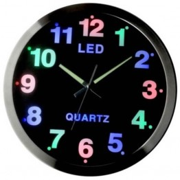 Εντυπωσιακό Ρολόι Τοίχου με Τρίχρωμο Φωτισμό LED