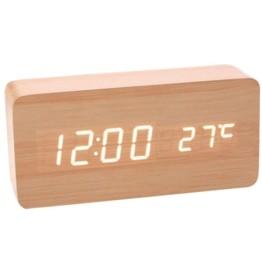 Επαναφορτιζόμενο Ρολόι Ημερολόγιο, Ξυπνητήρι, Θερμόμετρο Wood Style Digital Clock