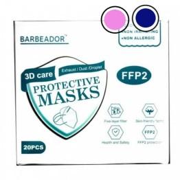 Μάσκα κάλυψης FFP2 Υψηλής Προστασίας Μπλε Σκούρο και Ροζ 10+10τμχ