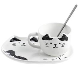 Κεραμικό σετ Κούπα και Πιατάκι για Μπισκότο Λευκό Μαύρο- Cat Ceramic Mug with Tray