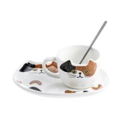 Κεραμικό σετ Κούπα και Πιατάκι για Μπισκότο Κάλικο (τρίχρωμο)- Cat Ceramic Mug with Tray
