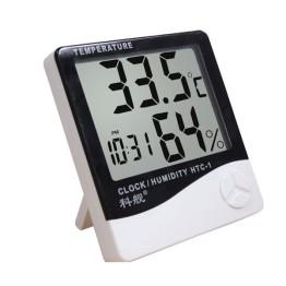 Επιτραπέζιο Ρολόι Θερμόμετρο Υγρασιόμετρο Με Μεγάλη Οθόνη HTC-1