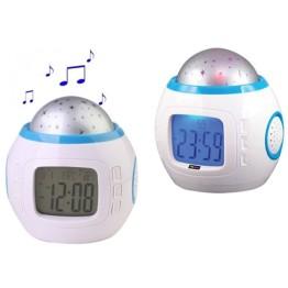 Μουσικό Ρολόι με Προτζέκτορα - Θερμόμετρο Χώρου και Ημερολόγιο UI-1038