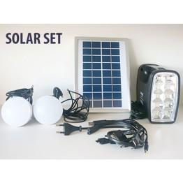 Ηλιακό Σύστημα Φωτισμού & Φόρτισης Με Panel, Μπαταρία, Φακό & 2 Λάμπες LED 90LM
