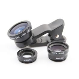 Φακοί FishEye, Wide, Macro με κλιπ για Κάμερα Kινητών - Universal Lens x3