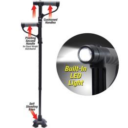 Πτυσσόμενο Μπαστούνι με Δύο Λαβές, Ρύθμιση Ύψους & Φακό LED - My Get Up & Go Cane