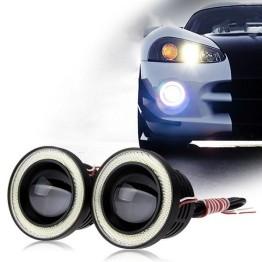 Προβολάκια Ομίχλης LED COB DRL 76mm - Φώτα Ημέρας Αυτοκινήτου ANGEL EYES