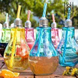 Χρωματιστά ποτήρια - Ρετρό Χρωματιστές λάμπες με καλαμάκι 400 ml - ΣΕΤ 4