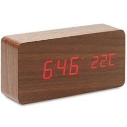 Ξύλινο Επιτραπέζιο Ρολόι Ημερολόγιο, Ξυπνητήρι, Θερμόμετρο με Αισθητήρα Ήχου