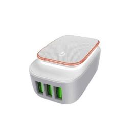 Ldnio Φωτάκι Νυκτός και Φορτιστής 3x USB Λευκό