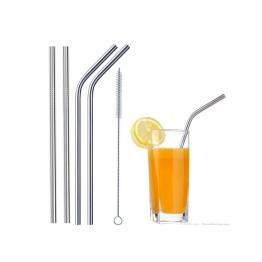 Μεταλλικά Καλαμάκια & Βουρτσάκι Καθαρισμού 5τμχ - Stainless Steel Straws