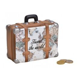 Κεραμικός Κουμπαράς Βαλίτσα Χάρτης - World Map Suitcase Piggy Bank