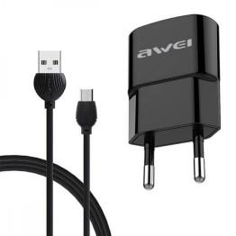 Φορτιστής Ρεύματος USB/Micro USB Fast Charging και Data Cable Μαύρο