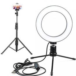 Φωτιστικό Ring Light 180-200 lux με πτυσσόμενο Τρίποδο-Μπαστούνι