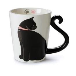 Κούπα με λαβή σε σχήμα ουρά γάτας - Black Kitten Mug