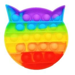 Anti Stress Fidget Bubble Pop Αγχολυτικό Παιχνίδι Γατούλα Rainbow