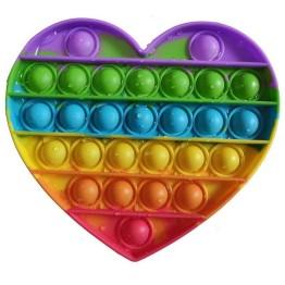 Anti Stress Fidget Bubble Pop Αγχολυτικό Παιχνίδι Καρδιά Rainbow