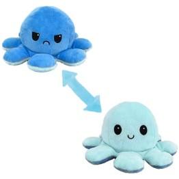 Λούτρινο Χταπόδι που αλλάζει διάθεση - Reversible Octopus 12εκ Θαλασσί - Γαλάζιο