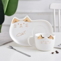 Κεραμικό σετ Κούπα και Πιατάκι για Μπισκότο Λευκό Χρυσό - Cat Ceramic Mug with Tray
