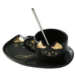 Κεραμικό σετ Κούπα και Πιατάκι για Μπισκότο Μαύρο Χρυσό - Cat Ceramic Mug with Tray