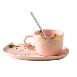 Κεραμικό σετ Κούπα και Πιατάκι για Μπισκότο Ροζ Χρυσό - Cat Ceramic Mug with Tray
