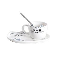 Κεραμικό σετ Κούπα και Πιατάκι για Μπισκότο Λευκό - Cat Ceramic Mug with Tray
