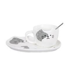Κεραμικό σετ Κούπα και Πιατάκι για Μπισκότο Λευκό Γκρι- Cat Ceramic Mug with Tray