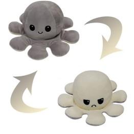Λούτρινο Χταπόδι που αλλάζει διάθεση - Reversible Octopus 12εκ Γκρι - Κρεμ