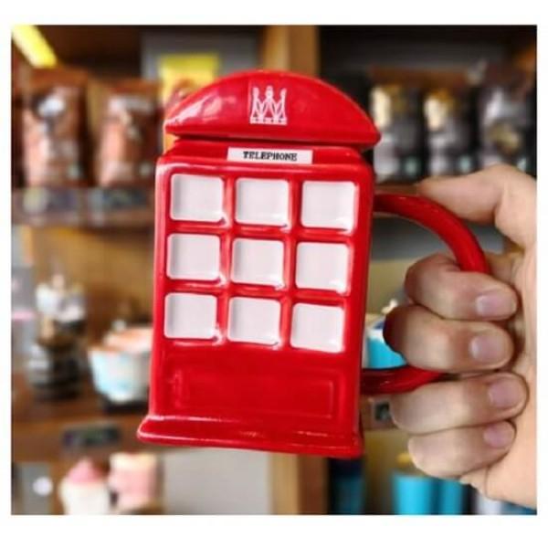 Κούπα σε σχήμα Κόκκινου Βρετανικού Τηλεφωνικου Θαλάμου με Καπάκι