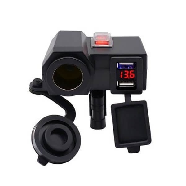 Αδιάβροχος Φορτιστής με 2x USB, Αναπτήρα 12V & Βολτόμετρο Μοτοσυκλέτας