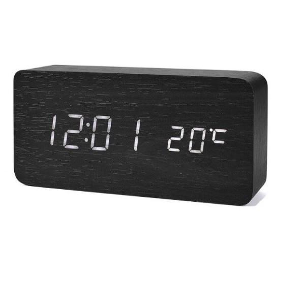 Ξύλινο Ηλεκτρονικό Ρολόι Ξυπνητήρι Θερμόμετρο Υγρασιόμετρο