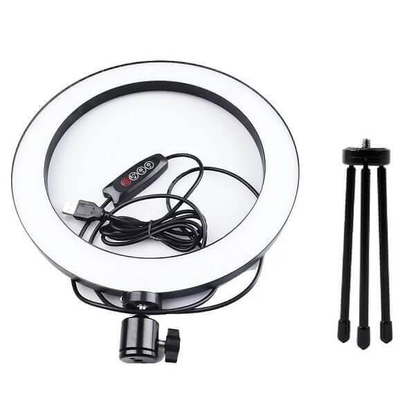 Φωτιστικό Δαχτυλίδι 26cm Ring Lamp Light LED 180-200 lux με 2 Τρίποδα