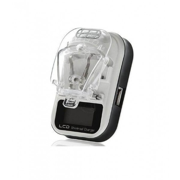 Universal Φορτιστής Μπαταρίας Φωτογραφικών Μηχανών με Οθόνη και Θύρα USB