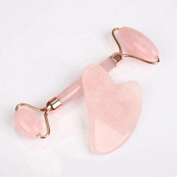 Σετ Pink Quartz Roller & Gua Sha Εργαλεία Γλυπτικής Προσώπου από Ροζ Χαλαζία
