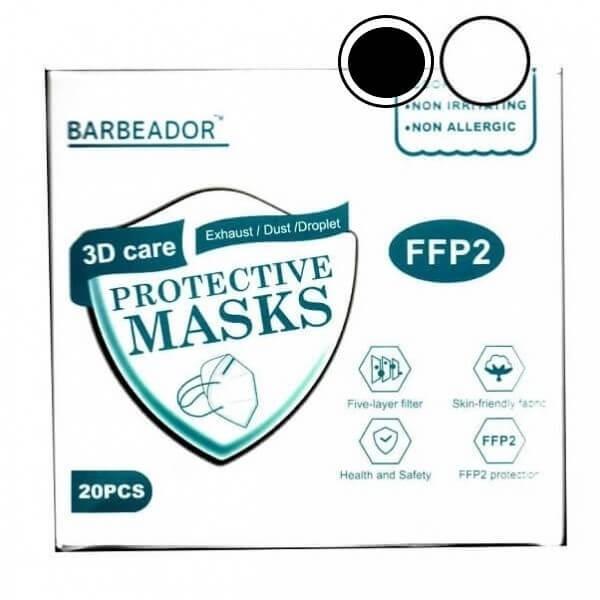 Μάσκα κάλυψης FFP2 Υψηλής Προστασίας Μαύρο και Λευκό 10 + 10τμχ