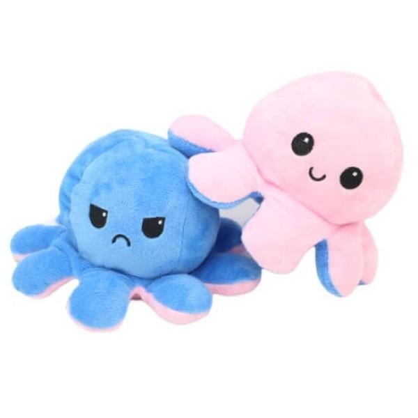 Λούτρινο Χταπόδι που αλλάζει διάθεση - Reversible Octopus 12εκ Ροζ-Γαλάζιο