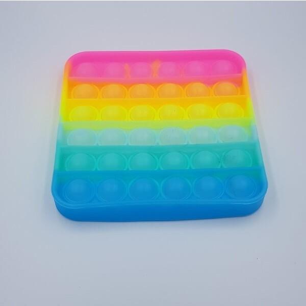 Anti Stress Fidget Bubble Pop Αγχολυτικό Παιχνίδι Τετράγωνο Rainbow Glow